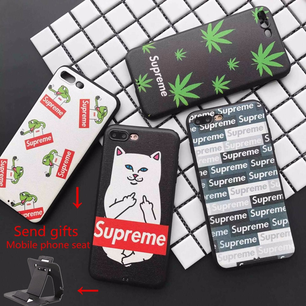Heat New Luxury Fashion Supreme Cases Sassy Cat Frog Silicon Soft Phone Cases For iPhone 6 6s 6Plus 6s Plus 7 7 Plus Case Cover
