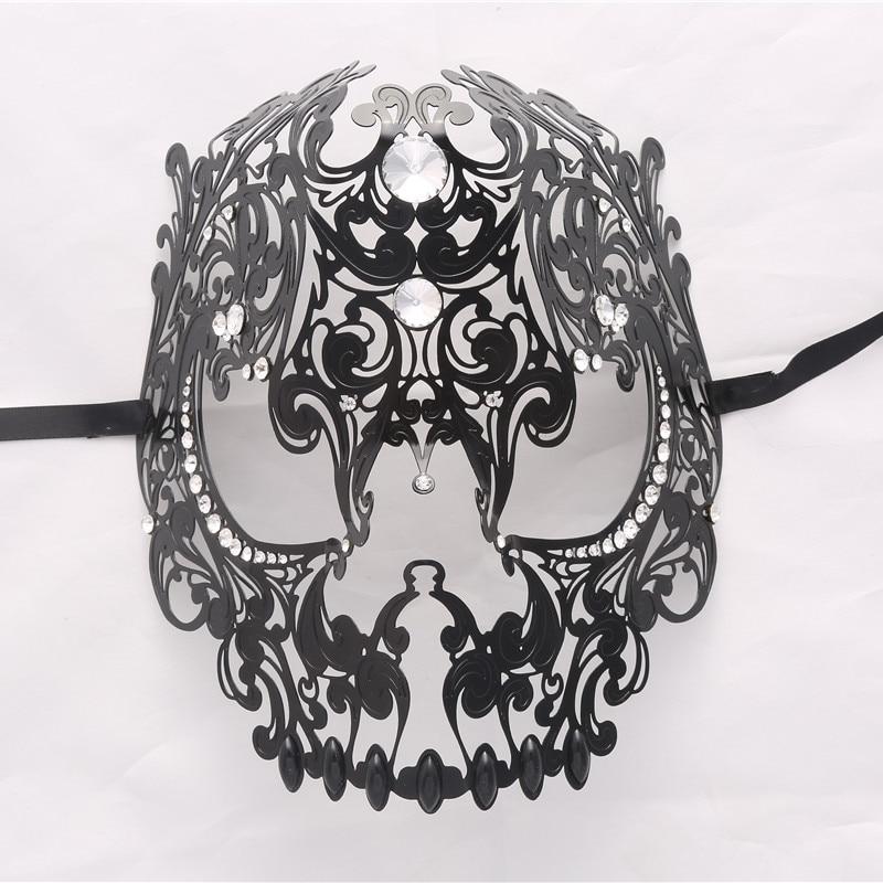 Demon Skull Laser Cut Black Metal Masquerade Mask