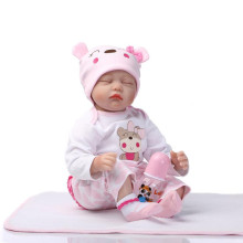 Free Shipping 55cm 22 Inch Silicone Reborn Baby Dolls Toy For Sale Close Eyes Newborn Babies With Pink Clothes For Kid Best Gift