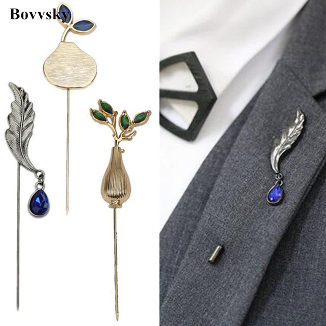903511beb0f Bovvsky metal Flower Brooch Vintage Collar Pins for Men Jewelry Brooches  Pins Boutonniere Men Suit Accessories