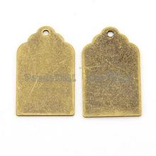 10pcs Antique Bronze Metal Tags charms Brass Blank Stamping Tag Pendants for engraving diy free shipping 21x12x0.3mm, Hole: 1mm