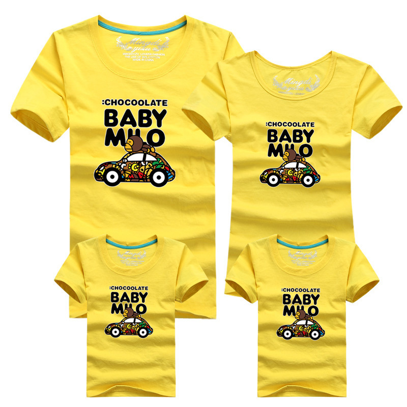 Baby boy summer clothes cartoon cars monkey family T shirts for dad