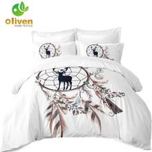 3Pcs Dream Catcher Bedding Set Boho Feather Print Duvet Cover Cartoon Deer Printed Bed Pillowcase White Bedclothes A25