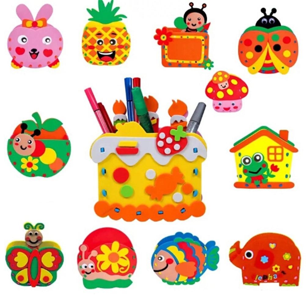 Hot Sale Handmade Eva Pen Holder Eva Foam  Arts & Crafts Kits Kids DIY Container For Pens Educational Toys For Children