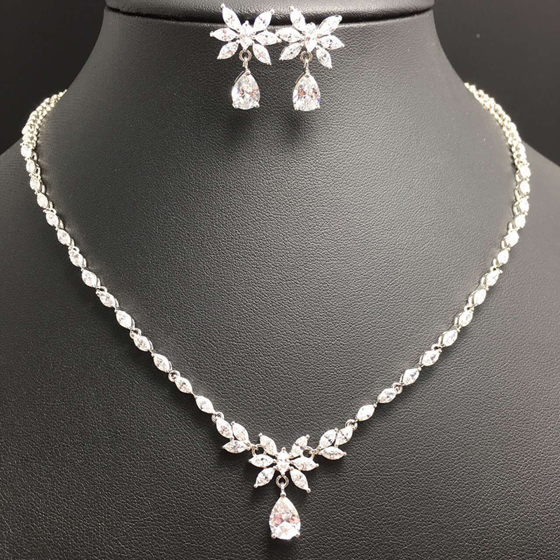 wholesale bridal jewelry sets crystal cz flower bridal