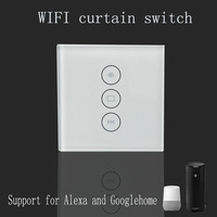 Wi Fi Curtain Switch Uk Version Glass Panel Smart Mobile Control Via Tuya App Work With