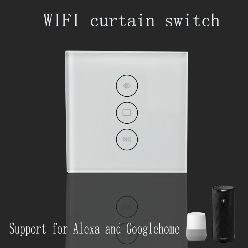 Wi-Fi curtain switch Uk/EU Glass Panel smart mobile control via Tuya app Work with Amazon Alexa Google home for smart home work with amazon alexa google home 90 250v smart wi fi switch glass panel uk 3gang touch light wall switch ewelink app