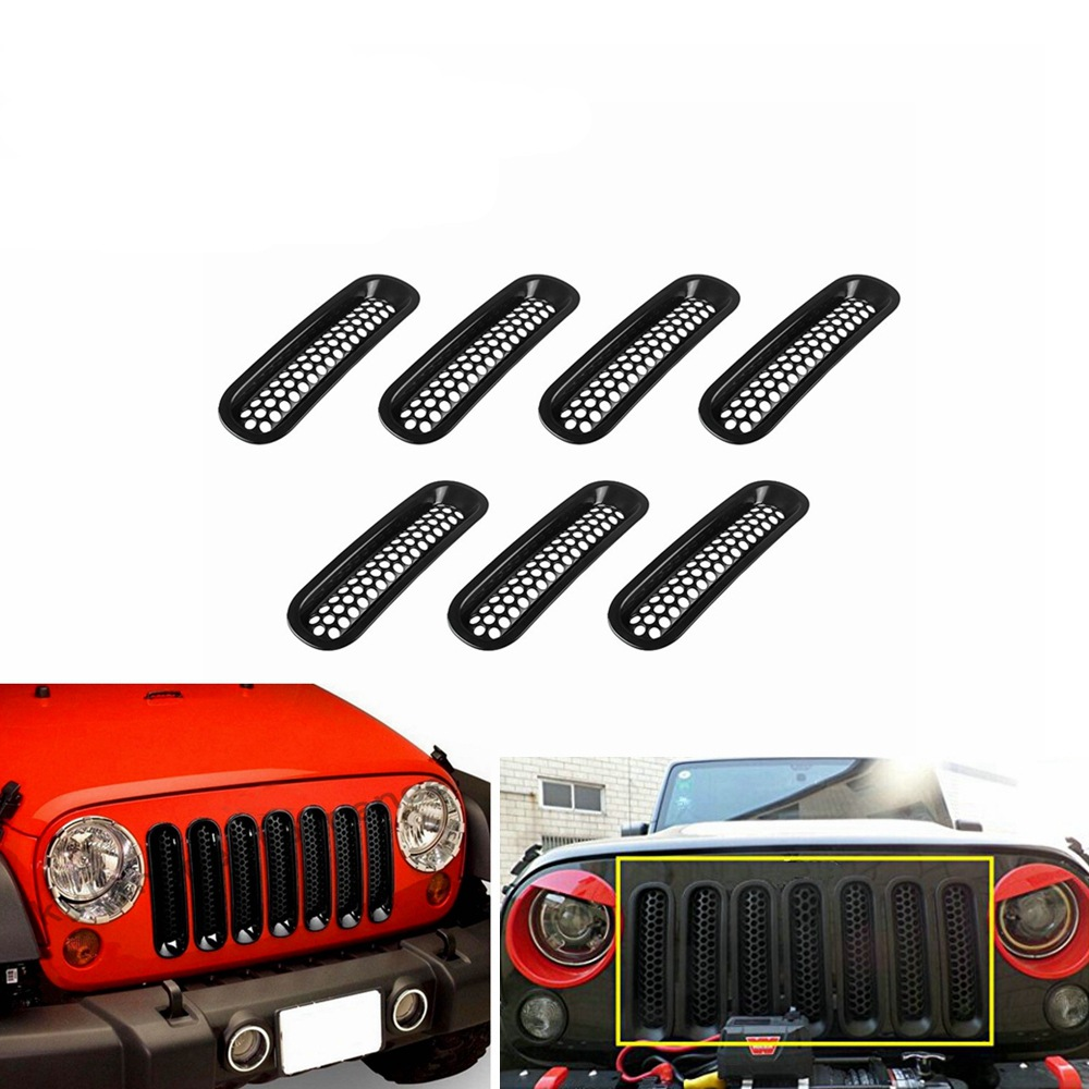 medium resolution of 7pcs black silver abs mesh front grille trim cover car inserts racing grille for bumper jeep wrangler jk 2007 2015