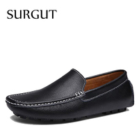SURGUT Brand New Colors Cow Split Leather Men Flat Shoes Brand Moccasins Men Loafers Driving Shoes Fashion Casual Shoes Hot Sell