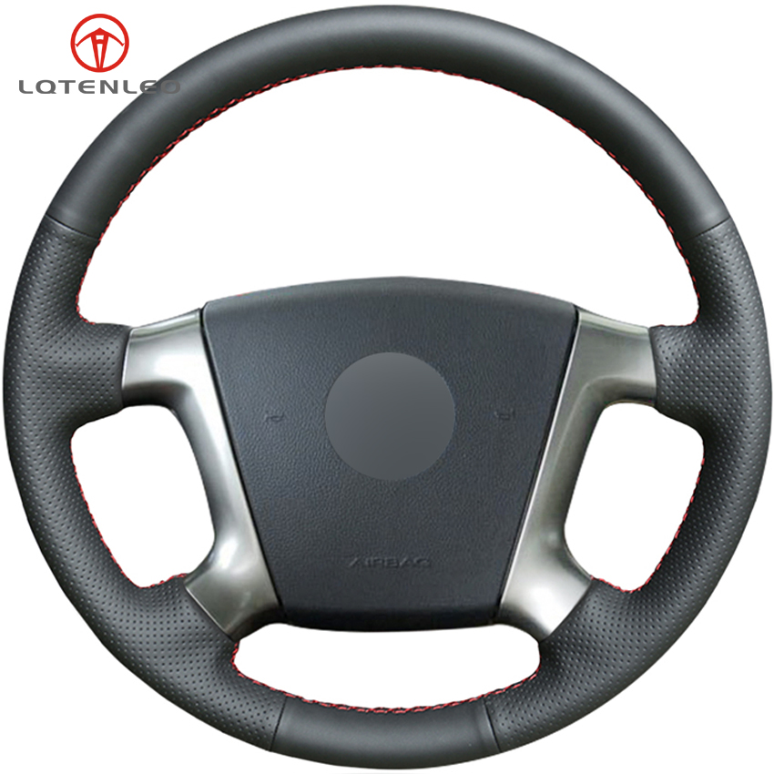 LQTENLEO Black Genuine Leather DIY Car Steering Wheel Cover For Chevrolet Epica 2006 2007 2008 2009