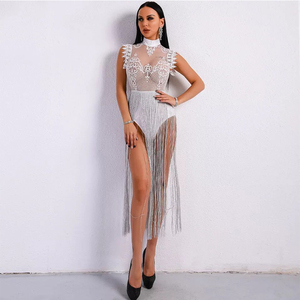 Image 3 - High Neck Sleeveless Lace Tassel Jumpsuit Nightclub Dress Stage Clothes For Singers Celebrity Dresses Birthday Outfits DNV10971
