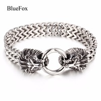 Men's Fashion Charms Lion Head 316L Titanium Stainless Steel Bracelet & Bangles Chic Wrist Band Hand Chain Jewelry Pulseras Gift