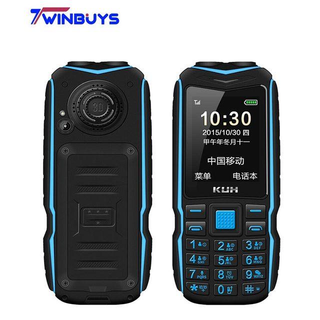 원래 KUH T3 2.4 인치 보조베터리 전화 듀얼 Sim 카드 카메라 MP3 듀얼 손전등 큰 음성 견고한 Shockproof 저렴한 핸드폰