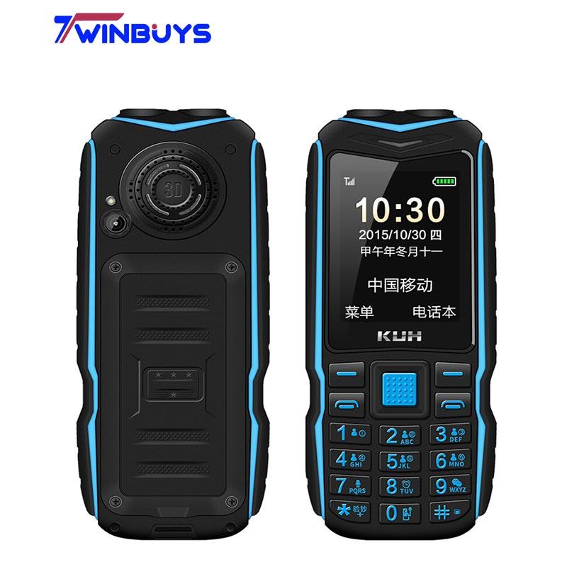 Оригинальный телефон KUH T3 с внешним аккумулятором 2,4 дюйма, с двумя Sim-картами, камерой, MP3, двойным фонариком, большим голосом, прочный удароп...