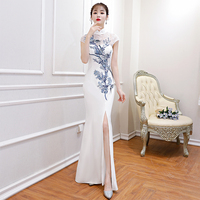 White High Split Mermaid Dress Evening Gowns Embroidery Floral Chinese Style Cheongsam Lace Sexy Stage Show Qipao Vestidos