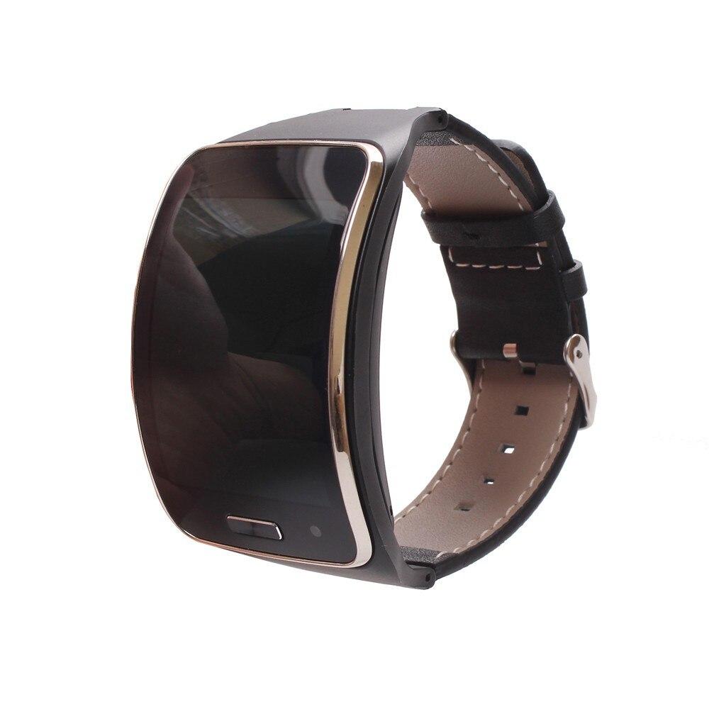 imágenes para Brazalete Para Samsung Engranaje S Negro CAMBIOS De Cuero Genuino S banda de Cuero Correa de Pulsera Para SAMSUNG ENGRANAJE S R750 Inteligente reloj