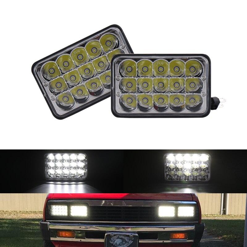 Pair 4x6 45W LED Headlights Sealed Headlamp High//Low Beam For Kenworth Peterbilt