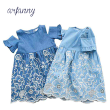ARFANNY Baby Girls Dress Brand Summer Beach Party embroidery dresses cotton Hollow cowboy dress Toddler Girl Clothing Kids