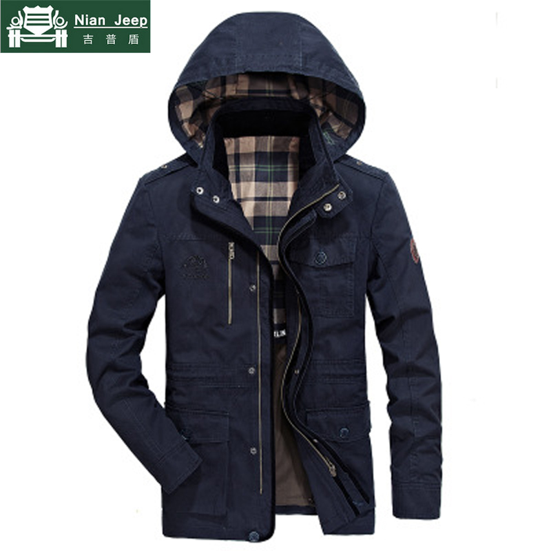 AFS JEEP Brand Military Long Jacket Men High Quality Autumn Winter Windproof Outwear Warm Mens Hooded Jackets Coats Size M 4XL