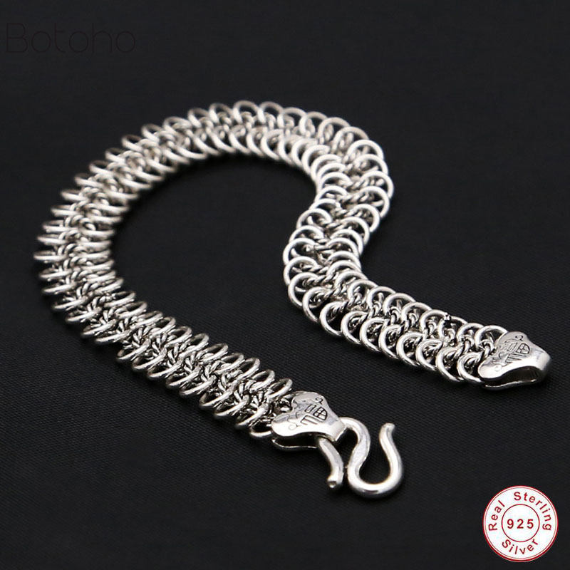 Bracelet en argent Sterling 925 de conception solide mâle Vintage bijoux en argent thaïlandais hommes garçon 11 MM 20.5 CM bracelet en argent pur en gros