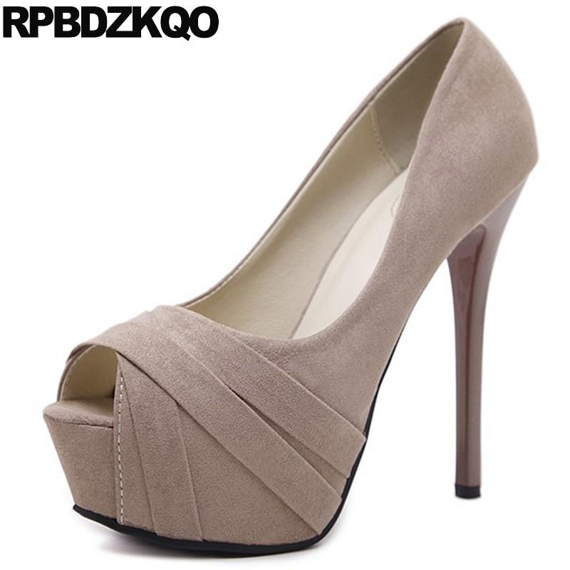 7d19a99f0 Peep Toe 12cm 5 Pulgada Barato Ultra Scarpin Camurça Preto Mulher Extremo  Peixe Boca Peep High Heels Plataforma Sapatos Tamanho 4 34 Super 14cm  Fetiche ...