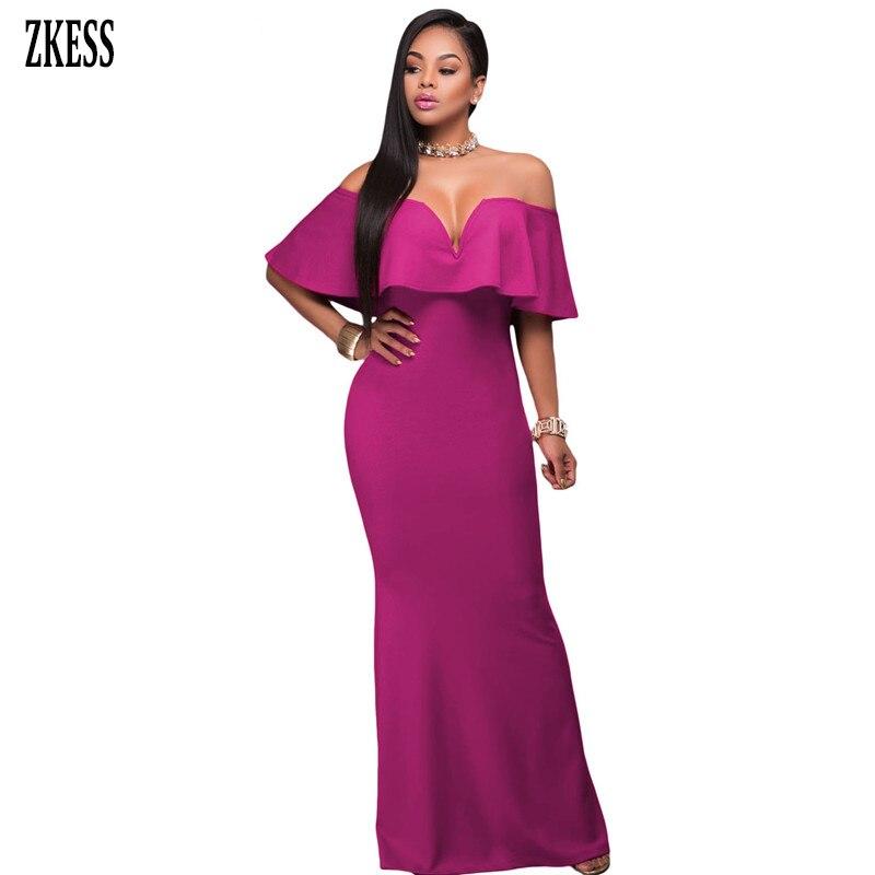 c0f5af1164a71 US $19.5 41% OFF|Zkess Women Ruffle Off Shoulder Maxi Bodycon Party Dress  Sexy Backless 2019 Elegant Mermaid Gown Dress Vestido De Festa LC61404-in  ...