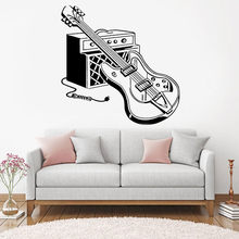 Rock And Roll Wall Decal Music Lover's Headphone Guitar Wall Sticker Teen Boys Girls Room DIY Party Decor Mural Note Record DA31(China)