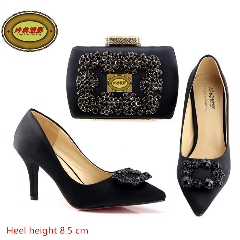 A168-3High Quality Italian Shoes With Matching Bags Latest Rhinestone African Women Shoes and Bags Set For Wedding italian design high quality shoes with matching bag for wedding party african fashion women pumps shoes and bags mm1061