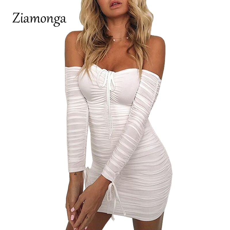 Ziamonga 2017 Winter Strapless Long Sleeve Tight Wrinkled