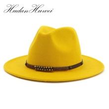 2021 Trend Men Women Wide Brim Wool Felt Jazz Fedora Hats British style Trilby Party Formal Panama Cap Green Yellow Dress Hat