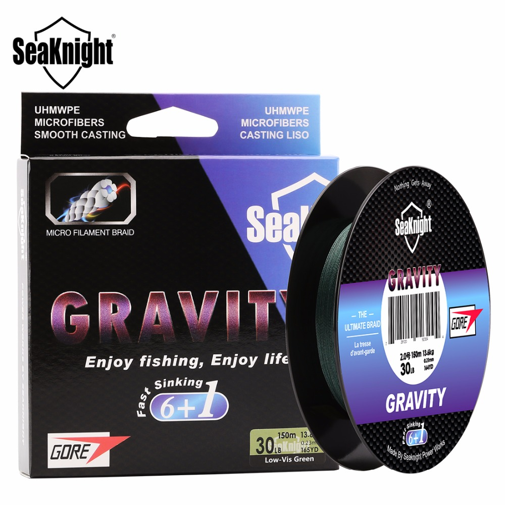SeaKnight GRAVITY Fast Sinking Fishing Line 7 Strands Braided Line 150M Smooth MPE Line 6 Braided Lines + 1 GTX Advanced 20-40LB