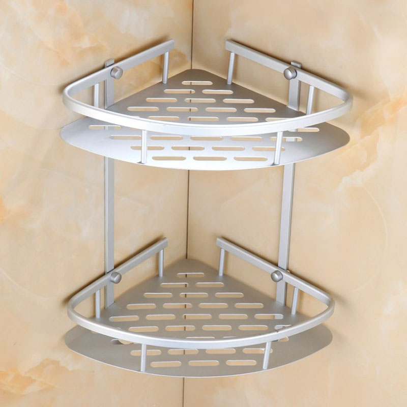 newly space aluminum bathroom corner shelf triangular shower shampoo soap storage shelves racks kitchen storage