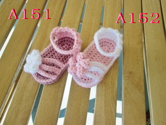 Free Shipping Summer Baby Crochet Bootees Baby Handmade Pink Toddler Shoes Custom