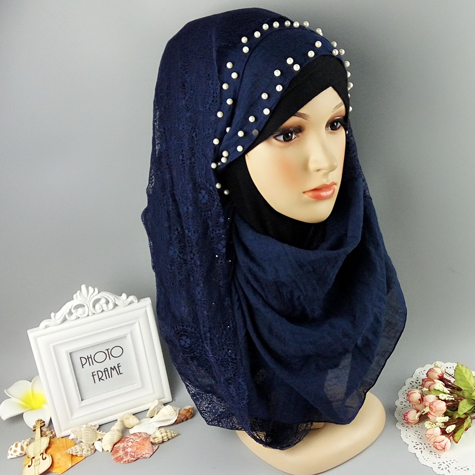 M8 high quality pearl half lace new arrive muslim women   scarf     scarves     wrap   shawl hijab