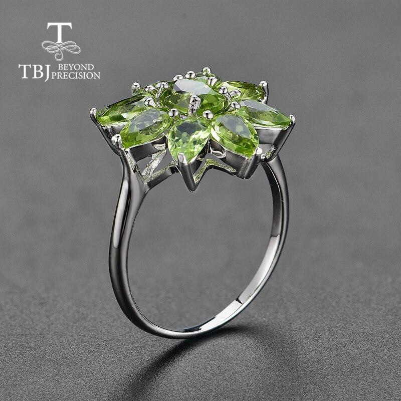 Tbj, natural Peridot แหวนดีสีอัญมณี 925 เงินแท้ออกแบบใหม่เครื่องประดับเหมาะสำหรับสาวพักผ่อนวันหยุดสวมใส่-ใน ห่วง จาก อัญมณีและเครื่องประดับ บน   2
