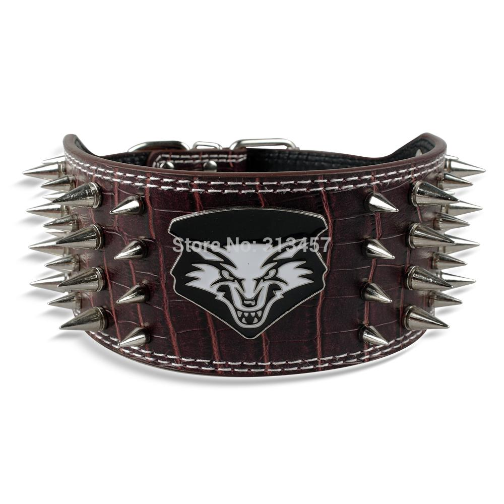 4 Rows Sharp Spiked Dog Collar Soft Leather Pet Walking Collar 3 Width for Large Breeds