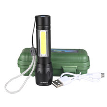 Portable Mini COB LED USB Flashlight Rechargeable Zoom Focus Work Built in Battery Torch Light Lamp Lantern USB Cable with Box(China)