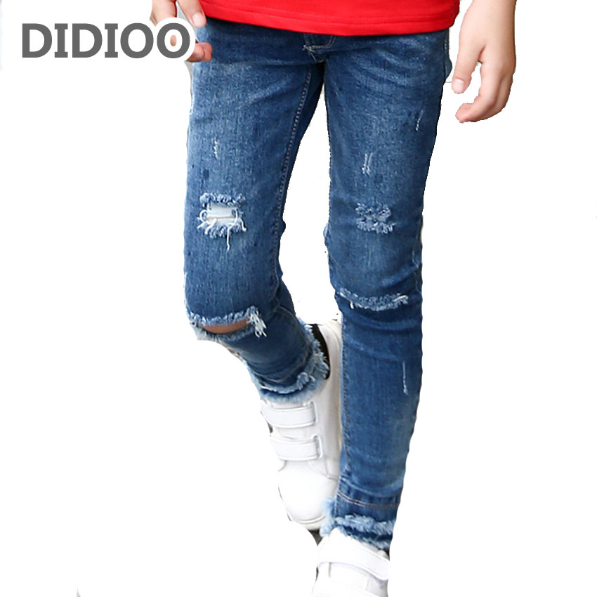 Kids Ripped Jeans Voor Meisjes Kleding Casual Merk Potlood Broek Meisjes Denim Broek Lente Herfst Kinderkleding 5 7 9 11 Jaar