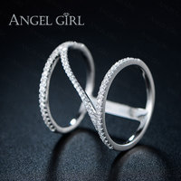 Angel Girl The Real High Quality 925 Sterling Silver Ring Fashion Micro Inlaid CZ Ring For