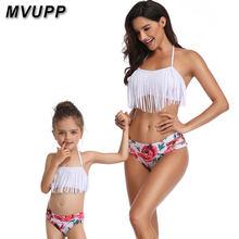 4a2b665d5 Coincidentes trajes madre hija trajes de baño de mamá bebé baño familia  mamá y mí ropa Bikini cintura alta Floral 2019