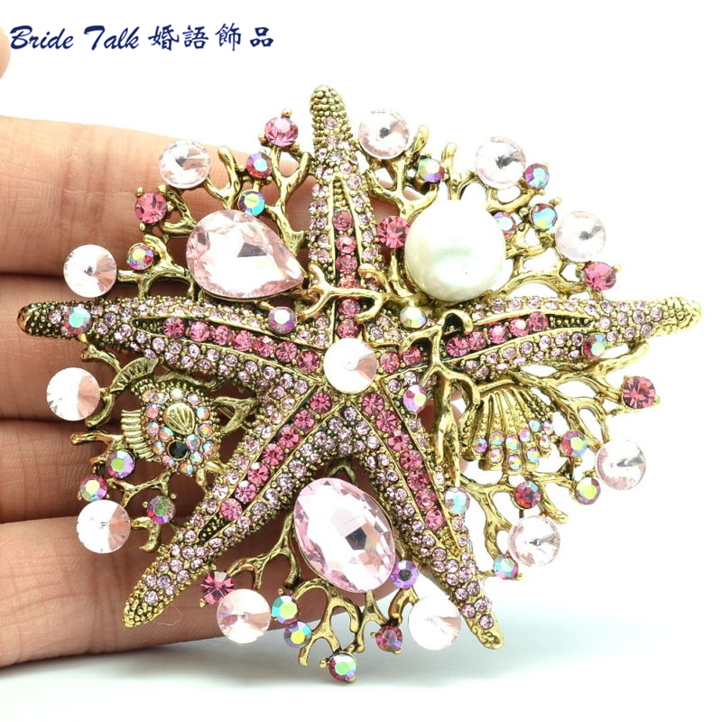 Fashion Women Jewelry Pink Starfish Brooch Pin W Imitate Pearl Rhinestone Crystals BLN6412