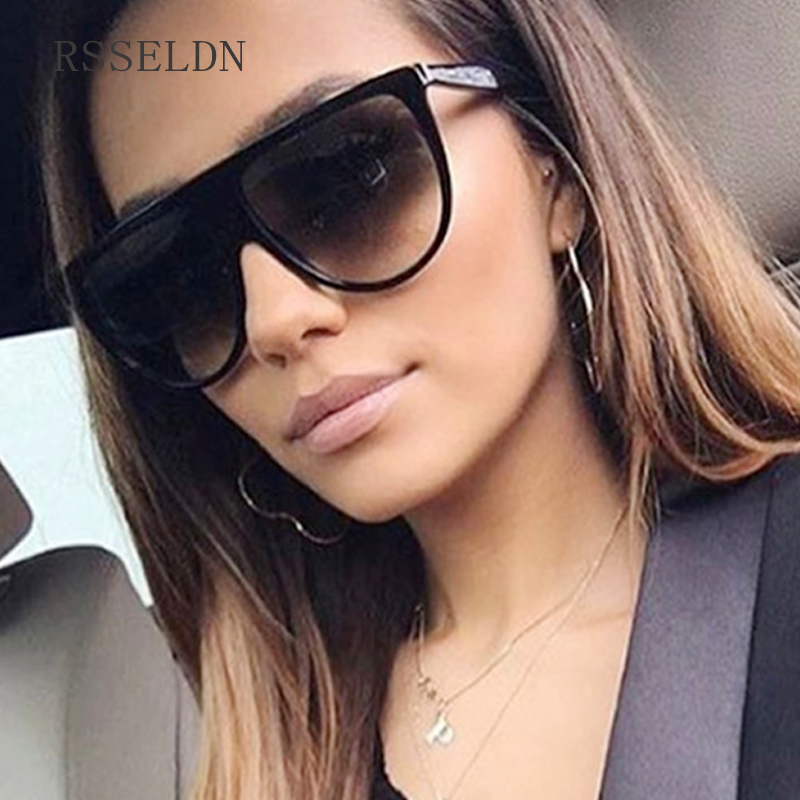 Rsseldn New Black Clear Oversized Square Sunglasses Women