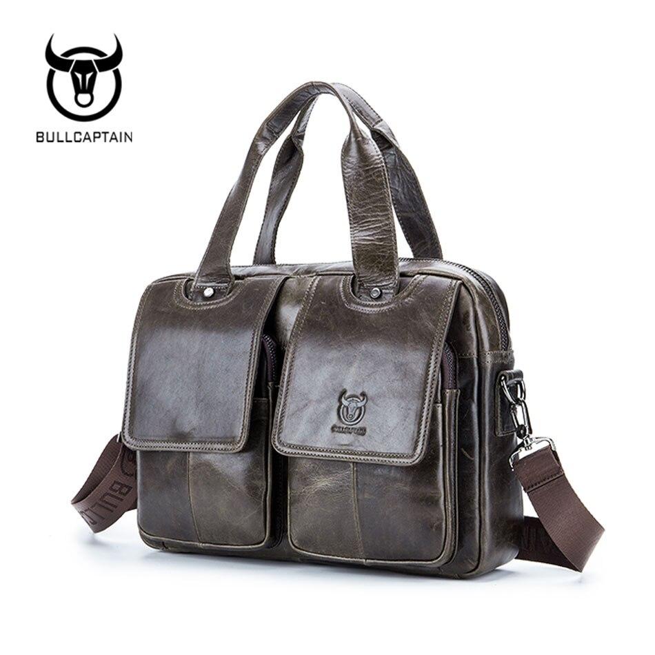 BULLCAPTAIN 2019 Men leather bag business Computer Laptop Bags Fashion cowhide male commercial briefcase Messenger Shoulder