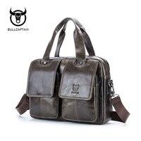 BULLCAPTAIN 2019 Men leather bag business Computer Laptop Bags Fashion cowhide male commercial briefcase Messenger Shoulder Bags