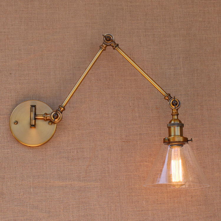 glass brass adjustable long arm wall light vintage edison loft style industrial wall lamp. Black Bedroom Furniture Sets. Home Design Ideas