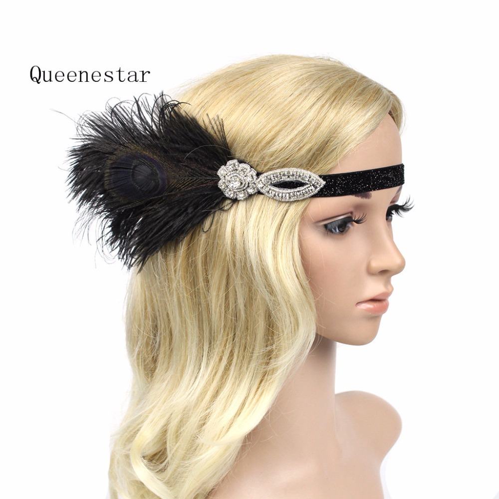 Black Feather Headband Flapper Great Gatsby Elastic Feather Sequin Rhinestone Hair Bands Party Gatsby Feather Hair Accessories