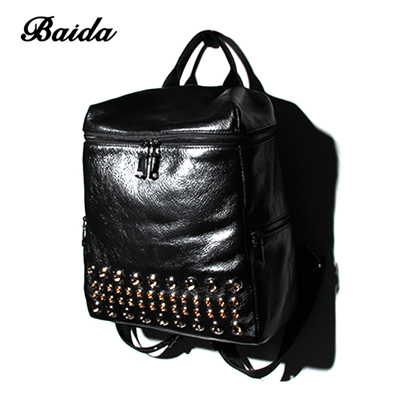 Baida Genuine Leather Backpack Large Capacity Rivet Black Shoulder Bag Women Casual Backpack Teenage Girls School Travel Bags jmd backpacks for teenage girls women leather with headphone jack backpack school bag casual large capacity vintage laptop bag