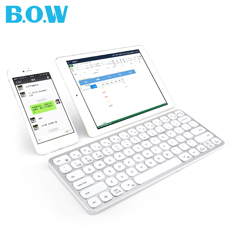B.O.W  Bluetooth Backlit ( Backlight) Keyboard, Aluminum Ultra-thin Wireless Keyboard for Desktop, Laptop, Tablets,Smartphone