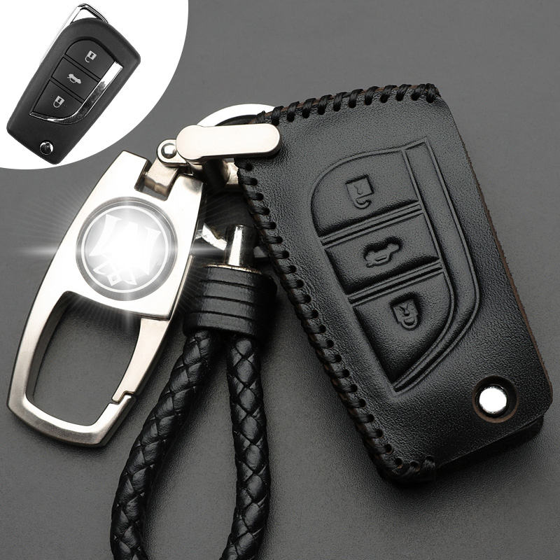 Car Key Case Cover Keyfob Keychain Leather Protect Shell For Toyota COROLLA Camry CROWN LEVIN Reiz EZ RAV4 Highlander CY753-CN