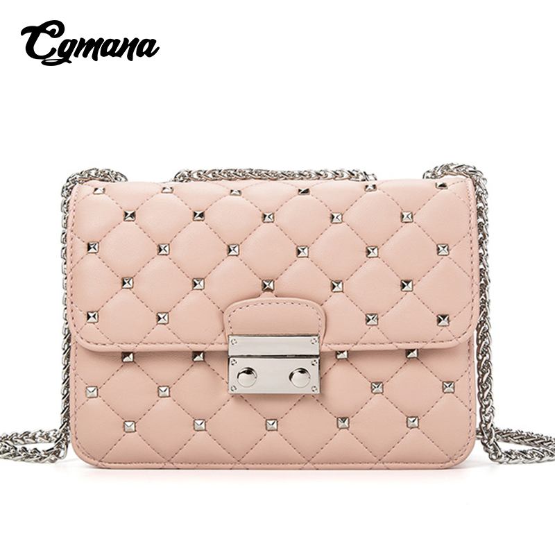 Rivet Crossbody Bags For Women 2018 New Leather Shoulder Bags Small Women Bags Luxury Designer Famous Brands Handbags Sac A Main vintage pu leather bags crossbody bags for women messenger bags handbags women famous brand rivet belt buckle small shoulder sac